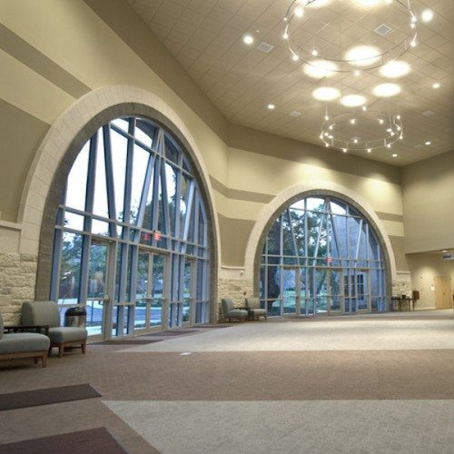 Interior View of Custom Curtain Wall System & Storefront Entrance Doors | Grace Covenant Church | Commercial Projects | Anchor-Ventana