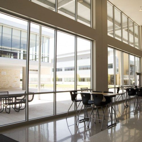 Interior View of Cafeteria Building Windows | Cedar Ridge High School | Commercial Projects | Anchor-Ventana Glass
