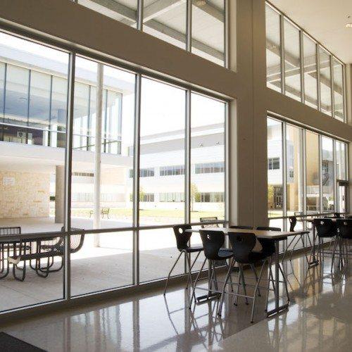 Interior View of Cafeteria Building Windows | Cedar Ridge High School | Commercial Projects | Anchor-Ventana Glass