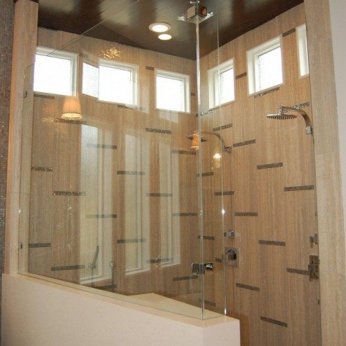 Frameless Corner Fixed Panels Set with Clamps in Bathroom Shower | Shower Gallery | Anchor-Ventana Glass