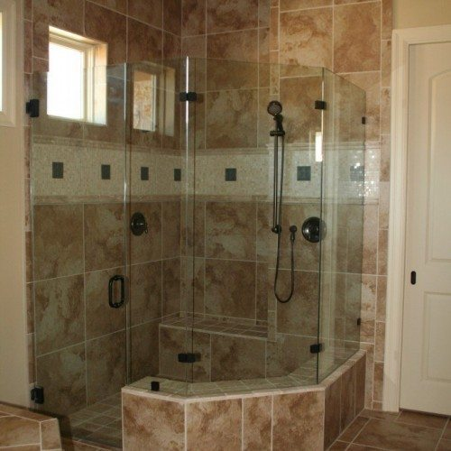 Frameless Neo Shower Enclosure with Clamps on Fixed Panels in Bathroom Shower   Shower Gallery   Anchor-Ventana Glass