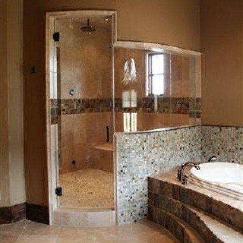 Frameless Bent Glass Shower Enclosure in Bathroom Shower | Shower Gallery | Anchor-Ventana Glass