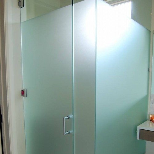 Frameless Glass Water Closet with Privacy Stripe in Bathroom   Shower Gallery   Anchor-Ventana Glass