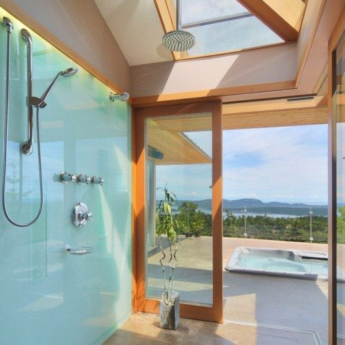 Clean bright contemporary shower featuring backpainted glass | Shower Gallery | Anchor-Ventana Glass