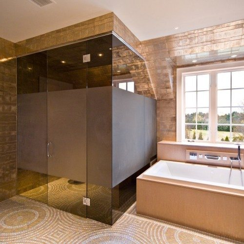 Contemporary bathroom design featuring smoked glass shower enclosure | Shower Gallery | Anchor-Ventana Glass
