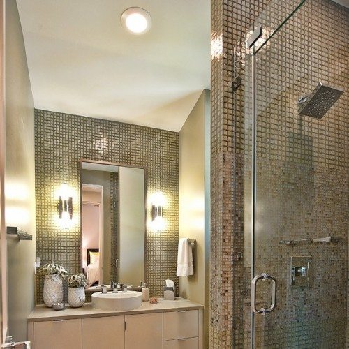 Contemporary bathroom design with glass shower door and vertical mirror   Shower Gallery   Anchor-Ventana Glass