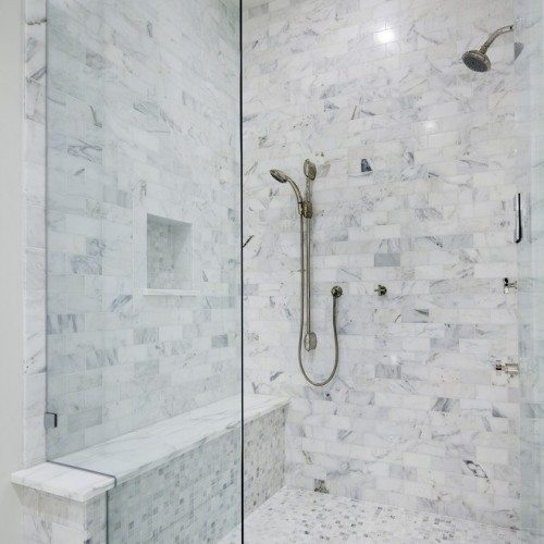 Frameless Notched Fixed Panel Set with Clamps in Bathroom   Shower Gallery   Anchor-Ventana Glass