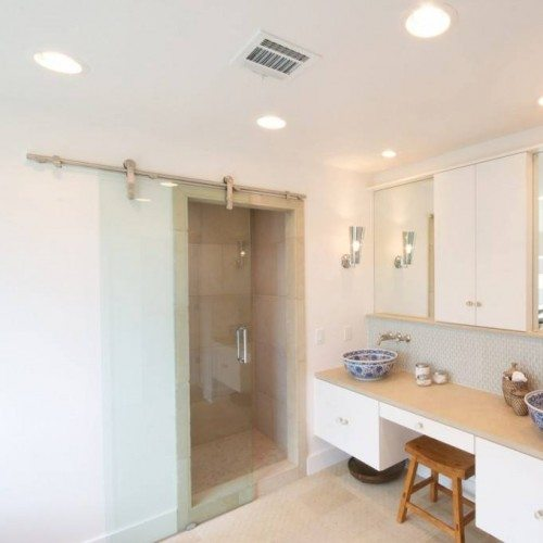 Frameless Dorma Manet Sliding Barn Door at Shower in Bathroom | Shower Gallery | Anchor-Ventana Glass