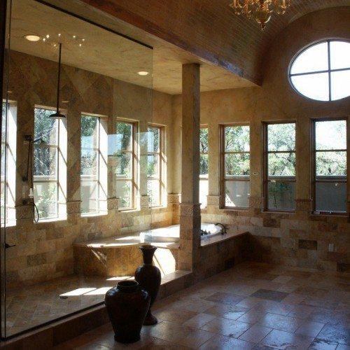 Frameless Fixed Panel Set in Channel in Bathroom Shower   Shower Gallery   Anchor-Ventana Glass
