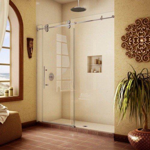 Frameless Pipeline Glass Shower Slider in Bathroom | Shower Gallery | Anchor-Ventana Glass
