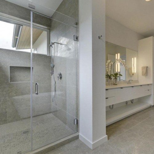 Frameless Inline Shower and Frameless Mirror in Bathroom | Shower Gallery | Anchor-Ventana Glass