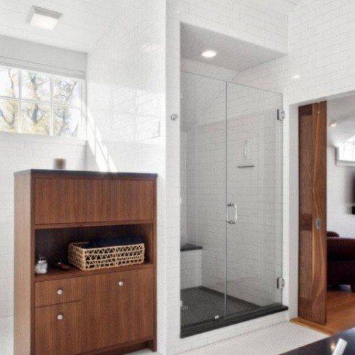Frameless Inline Glass Shower with Light Tile | Shower Gallery | Anchor-Ventana Glass