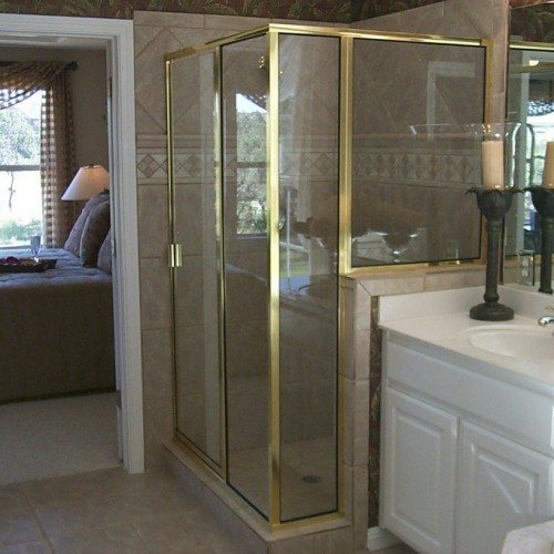 Traditional Framed Shower Door - Gold Frame | Shower Gallery | Anchor-Ventana Glass
