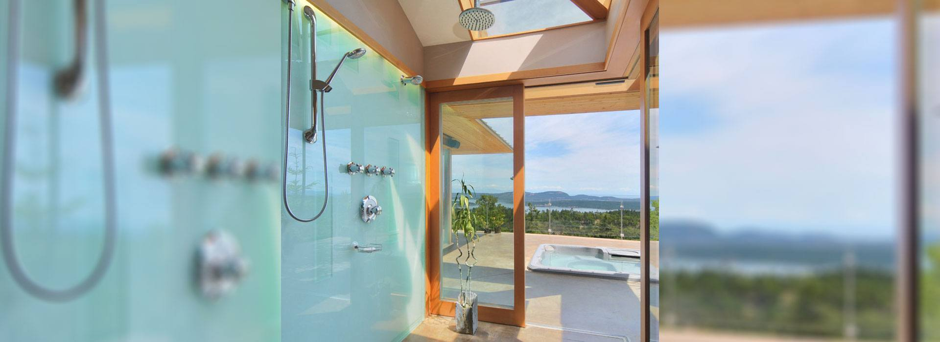 Colored Glass | Residential Gallery | Shower Backsplash | Anchor-Ventana Glass Company