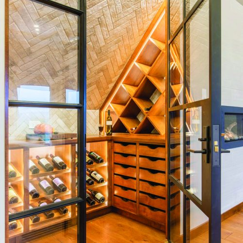 wine room in corner