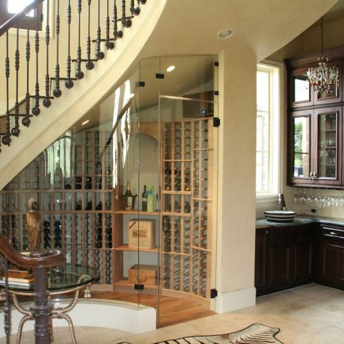 wine room under staircase