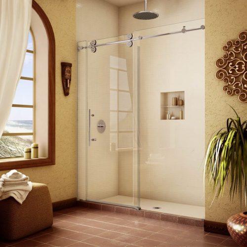sliding glass door in yellow bathroom