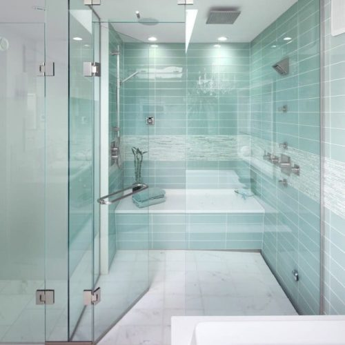 ShowerGuard® glass shower with white tile