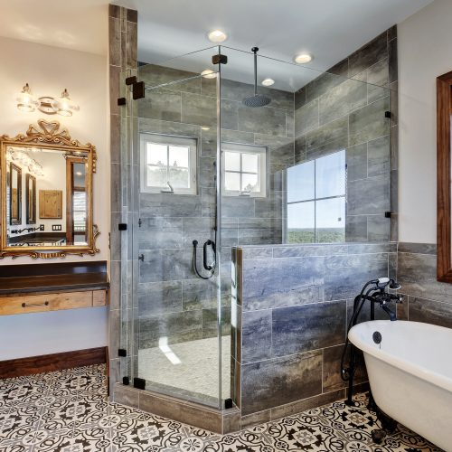 ShowerGuard® glass shower with grey tile