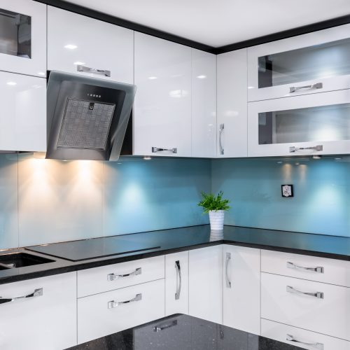 back painted glass blue glass in kitchen