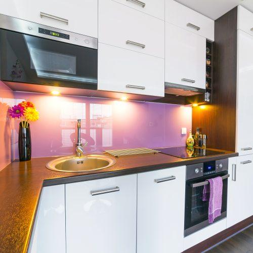 back painted glass purple kitchen